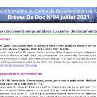 Brèves de doc N°94 - juillet 2021